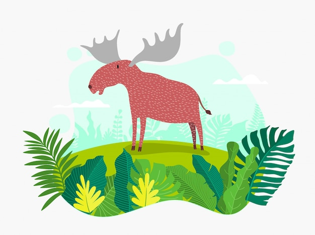Cartone animato carino cervo.