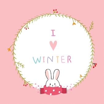 Cartone animato carino coniglio invernale e cornice floreale