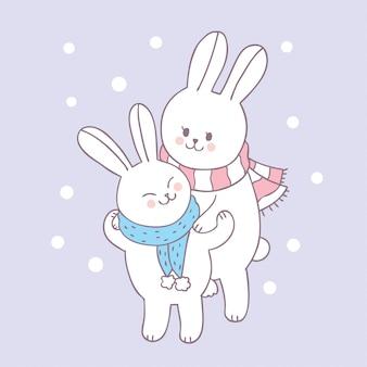 Cartone animato carino coniglio mamma e bambino vettoriale.