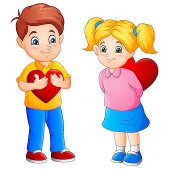 Cartone animato carino coppia con cuori rossi