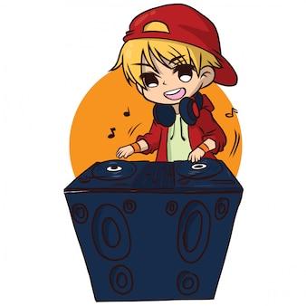 Cartone animato carino disc jockey