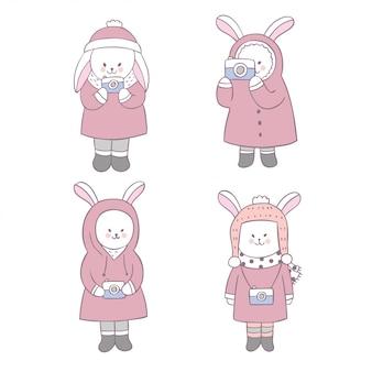 Cartone animato carino dolce coniglio e fotocamera vettoriale.