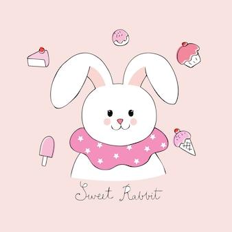 Cartone animato carino dolce coniglio vettoriale.