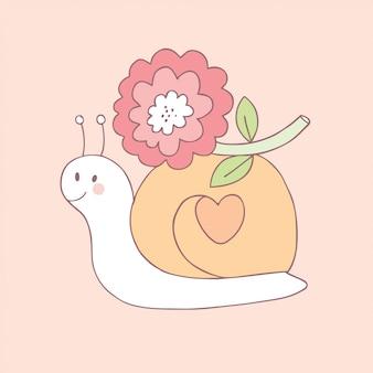 Cartone animato carino dolce lumaca e fiore vettoriale.