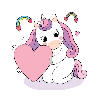 Cartone animato carino doodle unicorno e cuore.
