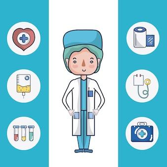 Cartone animato carino dottore femminile