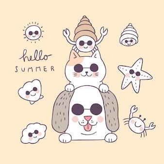 Cartone animato carino estate animali divertenti e shell