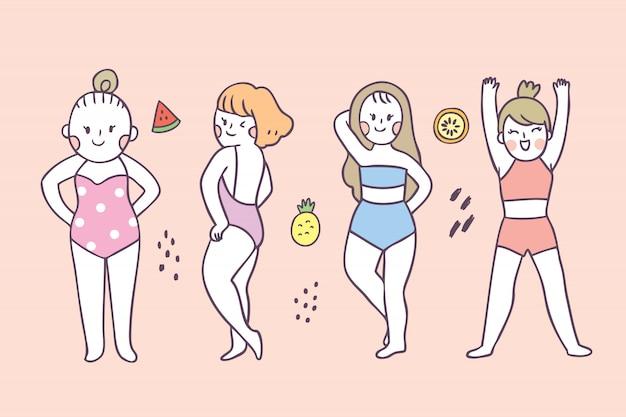 Cartone animato carino estate azione donna
