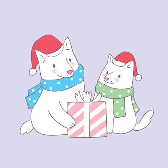 Cartone animato carino famiglia cani di natale e regalo vettoriale.