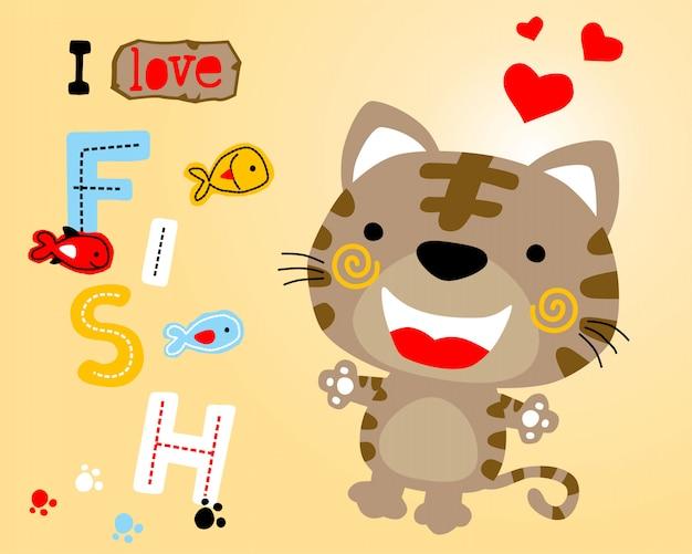 Cartone animato carino gattino con pesci colorati