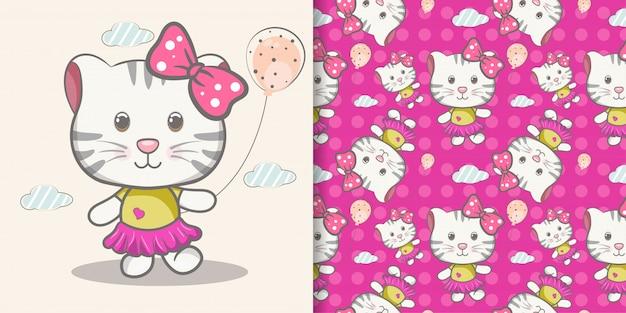 Cartone animato carino gatto con set di pattern