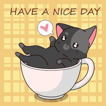 Cartone animato carino gatto in una tazza.