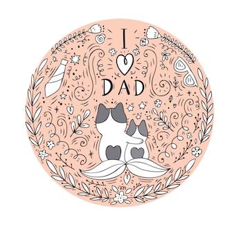 Cartone animato carino gatto papà e vettore del bambino.