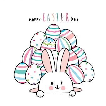 Cartone animato carino giorno di pasqua coniglio e uova colorate.