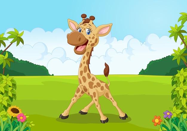 Cartone animato carino giraffa con bellissimo paesaggio