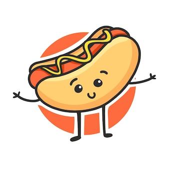 Cartone animato carino hot dog. carattere sveglio di vettore degli alimenti a rapida preparazione isolato