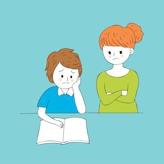 Cartone animato carino insegnante e triste ragazzo vettoriale.