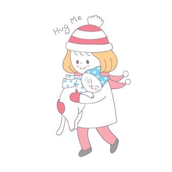 Cartone animato carino inverno ragazza e gatto vettoriale.