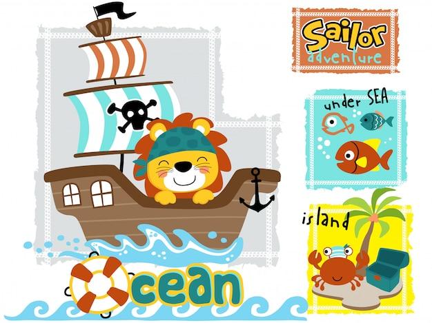 Cartone animato carino leone sulla barca a vela con animali marini