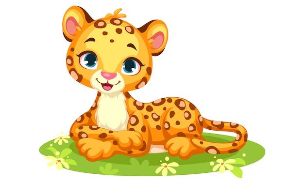 Cartone animato carino leopardo bambino
