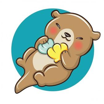 Cartone animato carino lontra