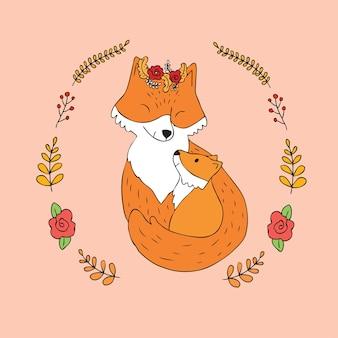 Cartone animato carino madre e bambino rosso volpe vettoriale.