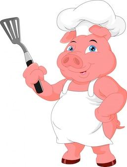 Cartone animato carino maiale chef