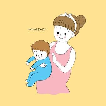 Cartone animato carino mamma e bambino eruttazione vettoriale.