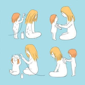 Cartone animato carino mamma e bambino lavaggio vettoriale.