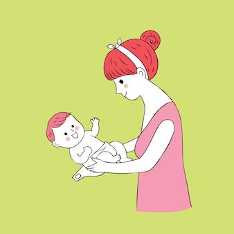 Cartone animato carino mamma e bambino pannolino vettoriale.