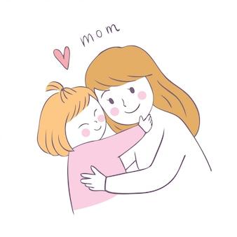 Cartone animato carino mamma e figlia vettoriale.