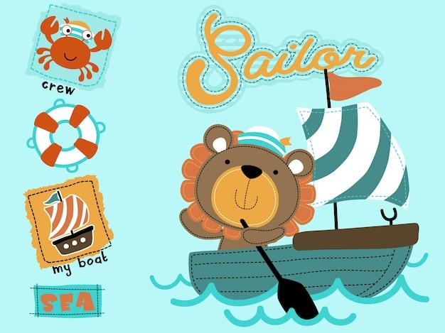Cartone animato carino marinaio sulla barca a vela