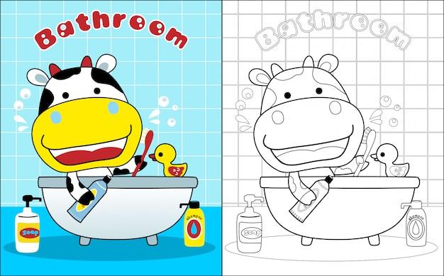 Cartone animato carino mucca in bagno