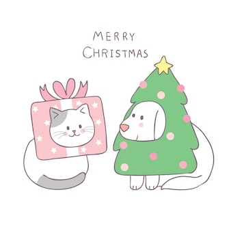 Cartone animato carino natale gatto e cane vettoriale.