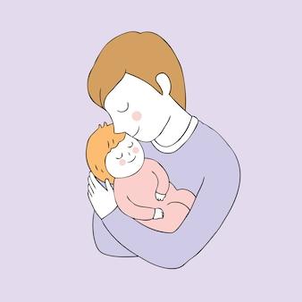 Cartone animato carino padre e figlia vettoriale.