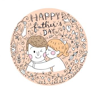 Cartone animato carino papà e figlia vettoriale.