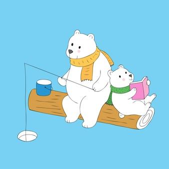 Cartone animato carino papà pesca e bambino lettura vettoriale.