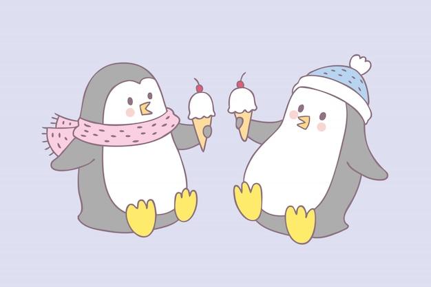 Cartone animato carino pinguino e gelato vettoriale.