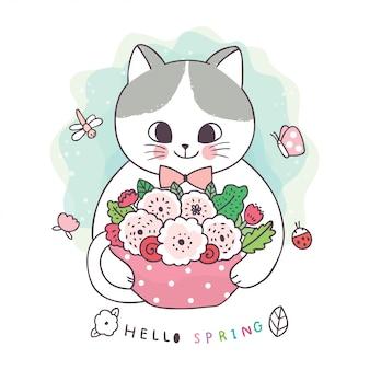 Cartone animato carino primavera, gatto e farfalla e ape e fiore