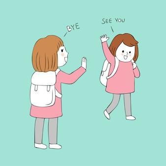 Cartone animato carino ragazze saluto vettoriale.