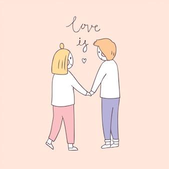Cartone animato carino san valentino coppia e amore.