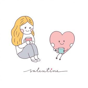 Cartone animato carino san valentino donna e amore vettoriale.