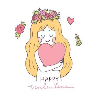 Cartone animato carino san valentino donna e cuore