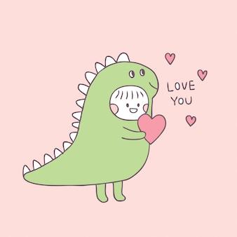 Cartone animato carino san valentino ragazza e amore.