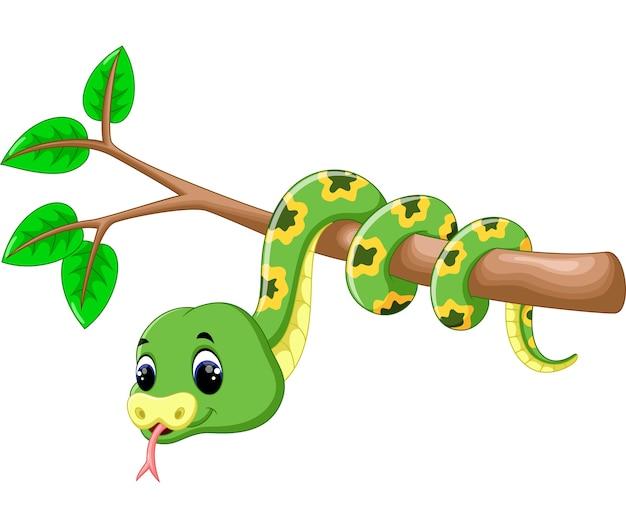 Cartone animato carino serpente verde