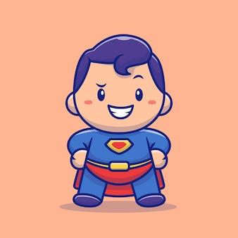 Cartone animato carino super eroe bambino