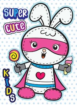 Cartone animato carino supereroe coniglietto