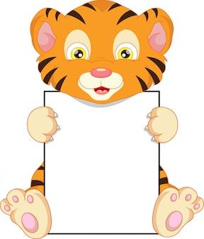 Cartone animato carino tigre del bambino e segno in bianco