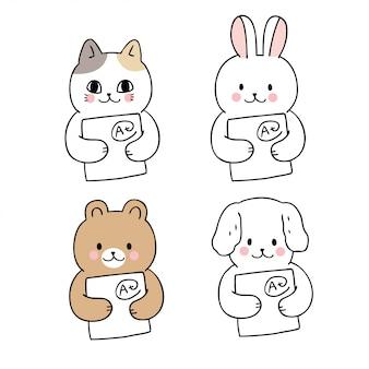 Cartone animato carino torna a scuola animali e carta