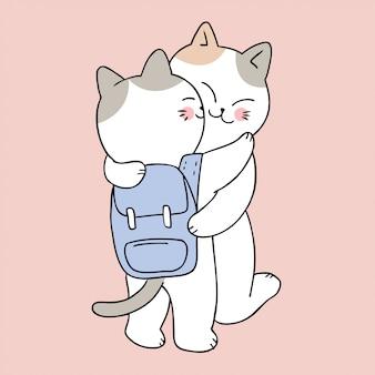 Cartone animato carino torna a scuola madre e bambino baciare gatto